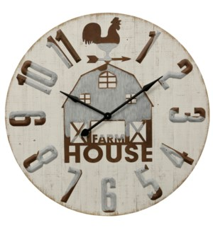 Farm House Barn | Traditional Wood and Galvanized Metal Wall Clock | Built in Hanging Hardware