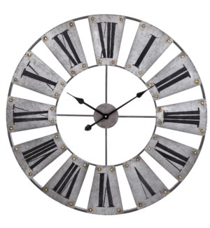 Time Gauge | Industrial Galvanized Metal and Painted Roman Numeral Wall Clock | Built in Hanging Har