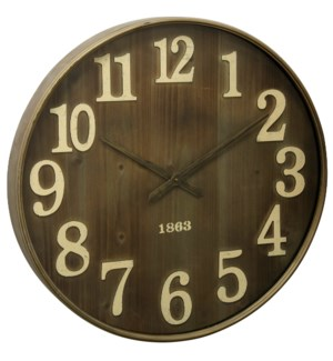 Antique Metal & Glass Wall Clock | 28in X 28in