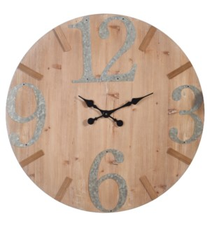 Wooden & Metal Wall Clock | 28in X 28in X 2in