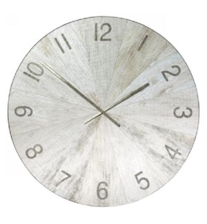 MATTE OAK | 45in w X 45in ht X 2in d | Metal and Wood Transitional Wall Clock with White Washed Oak
