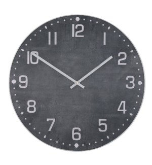 MATTE BLACK | 36in w X 36in ht X 2in d | Metal and Wood Industrial Wall Clock with Black Stone Finis