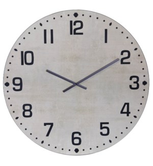 MATTE WHITE | 36in w X 36in ht X 2in d | Metal and Wood Industrial Wall Clock with Chalk White Finis