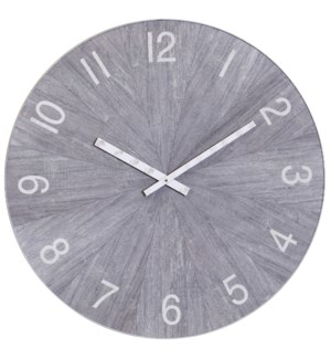 MATTE GRAY | 30in w X 30in ht X 2in d | Metal and Wood Industrial Wall Clock with Chalk Gray Finish