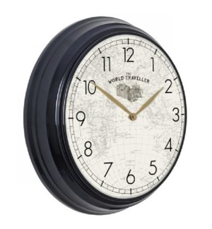 WORLD TRAVELER | 19in w X 19in ht X 4in d | Black Metal Wall Clock with World Map Face