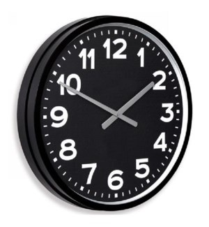 OLD SCHOOL | 22in w X 22in ht X 4in d | Metal Wall Clock with Basic White Numbers and Black Face