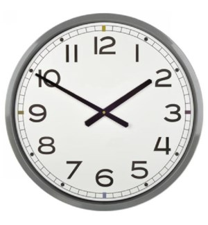 GREY | 22in w X 22in ht X 4in d | Metal Wall Clock with Black Numbers and White Face