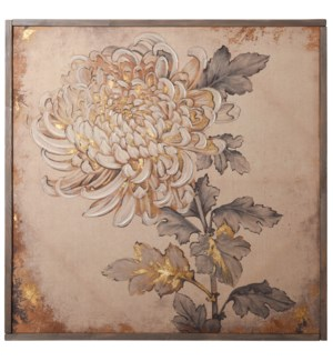 Linen Print with Hand Embellishment & Wood Frame | 40in X 40in