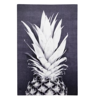 PINEAPPLE POSE | HAND EMBELLISHED | 36in X 24in | Black And White Bold Pineapple Pose Canvas