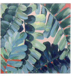 FOLIOLE I | HAND EMBELLISHED | 36in X 36in | Colorful Tropical Foliage Canvas I