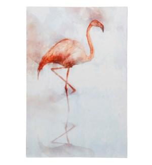 FLAMINGO II | HAND EBELLISHED | 36in X 24in | Sassy Pink Flamingo Portrait Canvas I