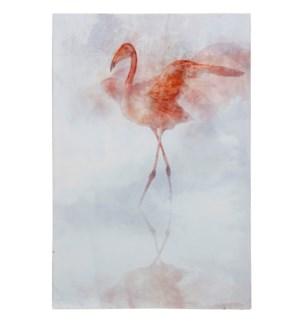 FLAMINGO I | HAND EBELLISHED | 36in X 24in | Sassy Pink Flamingo Portrait Canvas II