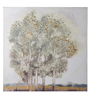 GOLDEN GALA | HAND EMBELLISHED | GOLD FOIL | 36in X 36in | Autumn Trees With Gold Foil Canvas