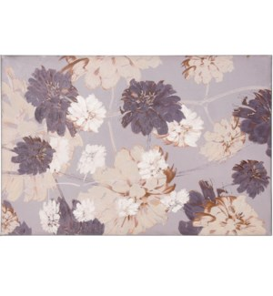 DANCING FLORAL | HAND EMBELLISHED | 36in X 24in | Purple And Grey Dancing Floral Canvas