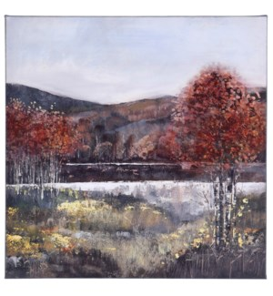 FALL LANDSCAPE   HAND EMBELLISHED   24in X 24in   Fall Landscape Featuring River streams Canvas