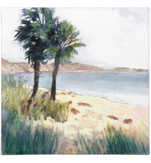BAY PALMS | HAND EMBELLISHED | 24in X 24in | Palm Trees With Ocean Views Canvas
