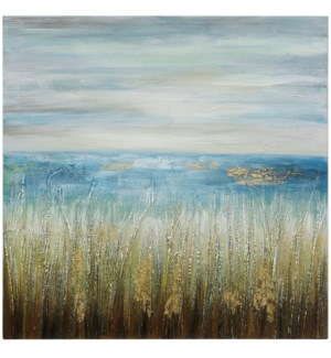 SEASIDE | HAND PAINTED | 40in X 40in | Welcome To The Sea Abstract Canvas