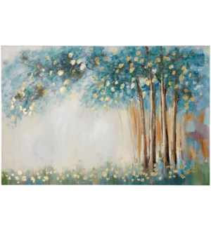 SRING SERENITY | HAND PAINTED | GOLD FOIL | 32in X 47in | Spring Serenity Gold Foil Enhanced Canvas