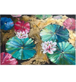 LOTUS LINGER   HAND PAINTED   32in X 47in   Lily Pads In Bold Color Hand Painted Canvas