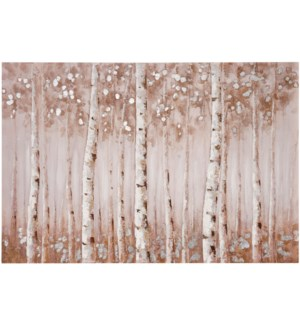 FALL TREES | HAND PAINTED | SILVER FOIL | 32in X 47in | Birch Trees In The Fall Hand Painted Canvas