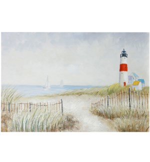 LIGHOUSE | HAND PAINTED | 32in X 47in | Light House Serenity With Ocean Views Canvas