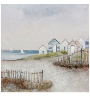 LIFE BY THE SEA | HAND PAINTED | 40in X 40in | Life By The Sea Hand Painted Canvas