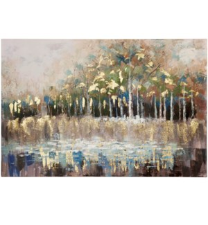 SEASIDE TREES | HAND PAINTED | GOLD FOIL | 32in X 47in | A Trees Reflection Hand Painted  Gold Foil
