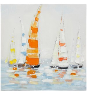 OPEN SEAS | HAND PAINTED | 24in X 24in | Friends That Sail Together Bold  Colorful Canvas
