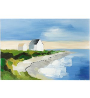 SEASIDE RESIDENCE | HAND PAINTED | 24in X 36in | Seaside Residence With A View Hand Painted Canvas