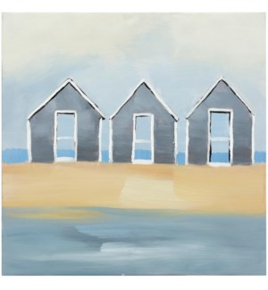 HUOSES BY THE SEA | HAND PAINTED | 24in X 24in | By The Sea Hand Painted Canvas