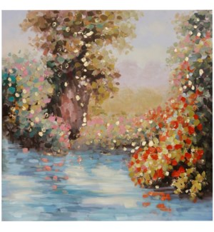 SPRING SCENERY | HAND PAINTED | GOLD FOIL | 40in X 40in | Spring Scenery In Vibrant Color Hand Paint