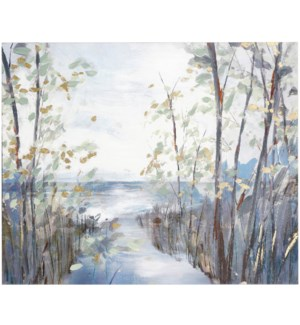 CROSSCUT TO THE CREEK | 50in w. X 40in ht. | Landscape Canvas with Hand Embellished Print