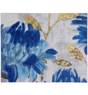 BLUE DELPHIUM | 28in w. X 22in ht. | Floral Hand Embellished Printed Canvas