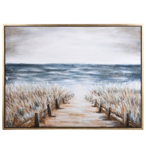 PATH TO A PEACEFUL PLACE | 36in w. X 48in ht. | Framed Coastal Hand Painted Canvas