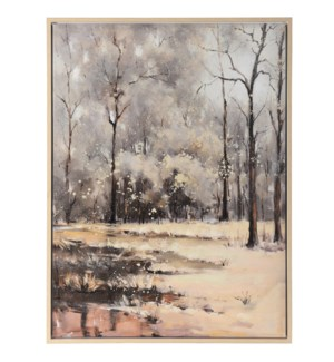 WINTER IN THE WILDERNESS | 36in w. X 48in ht. | Framed Landscape Hand Painted Art on Canvas