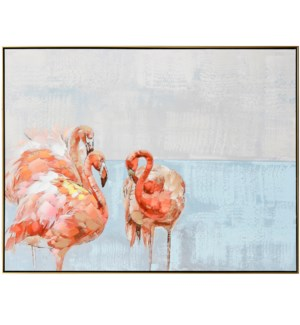 FLAMINGO FAMILY | 48in w. X 36in ht. X 2in d. | Framed Coastal Oil Painting on Canvas
