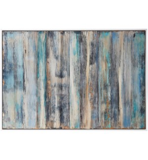 MEDITERRANIAN MEDITATION | 61in w. X 41in ht. X 2in d. | Framed Textured Abstract Oil Painting on Ca