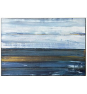 HORIZONTAL HOPES | 48in w. X 32in ht. X 2in d. | Framed Abstract Oil Painting on Canvas