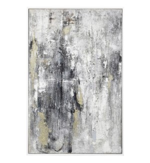 INTO THE DARKNESS | 37in w. X 47in ht. X 2in d. | Framed Abstract Oil Painting on Canvas