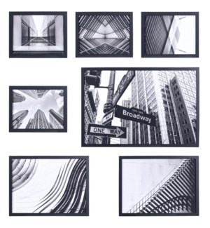 Set of 7 framed art - Large (1)  24x16x1 - Medium (2) 16x12x1 Small (4) 10x8x1
