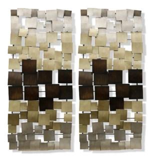 Gold Ombre Metal Art Panels | 46in | Set Of 2 Metal Art