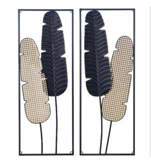 SAGO PALM | 36in ht  X 14in w  X 2in d  | Set of Two Dimensional Metal Wall Sculptures |