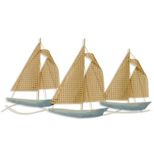 OPEN CANE SAILS | 37in ht  X 20in w  X 2in d  | Triptych Painted Sail Boats Sculpted in Metal |