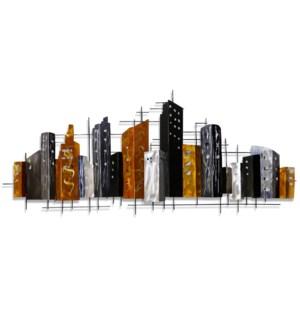 BIG CITY SKYLINE   Metal Wall Sculpture   50in w X 21in ht X 1in d