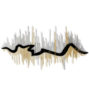 FLUTED RIBBON   Metal Wall Sculpture   47in w X 24in ht X 1in d