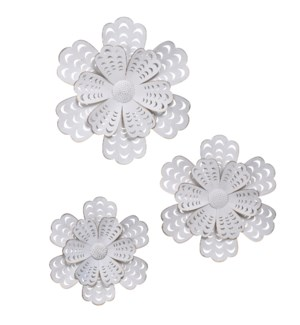 FLOWER POWER SET | 24in ht  X 24in w  X 2in d  | Set of Three Multiple Sized Painted Metal Wall Flow