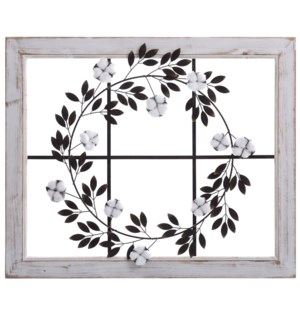 Cotton Wreath Window   Wood and Metal Material Country Wall Hanging   Built in Hanging Hardware