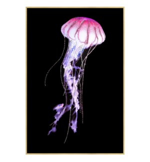 Pink Jelly | 32in X 47in X 1in | Framed Tempered Glass Print with Crystal Jewel Accents