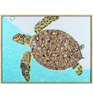 Sea Turtle | 32in X 24in X 1in | Framed Tempered Glass Print with Crystal Jewel Accents
