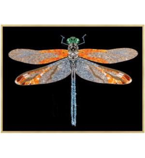 Dragon Fly | 32in X 24in X 1in | Framed Tempered Glass Print with Crystal Jewel Accents